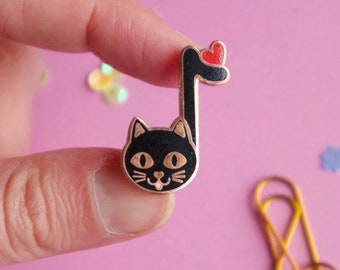 SECONDS SALE! Music Cat Enamel Pin - music teacher gift - black cat lapel pin - cat lady gift - music lover - cat gifts - cat jewelry