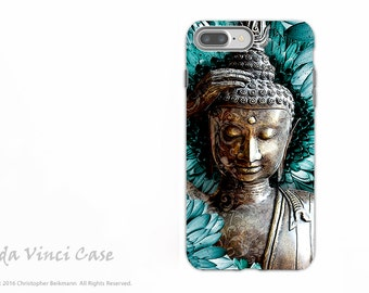 Blue and Brown Buddha iPhone 7 Plus - 8 PLUS Case - Dual Layer Protective Apple iPhone 7 Plus Cover - Floral Buddhist Art Mind Bloom