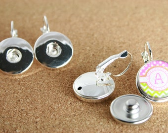 1 Pair  Leverback Earring Bases for DIY SNAP Bezel Toppers. Works with Snap Jewelry - Finished Snaps are not included.