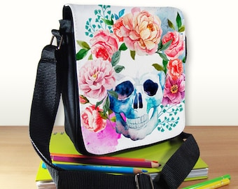 Skull Small Shoulder Bag, Skull and Roses, Sugar Skull, Small Crossbody Bag, Small CrossBody Purse, Cross Body Bag, Sling Bag, Small Purse