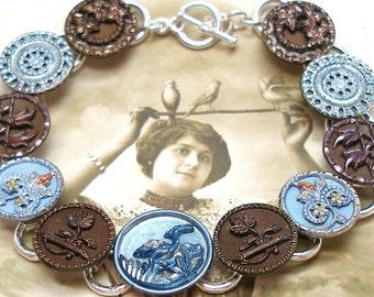 "French BUTTON bracelet, Victorian BIRD & flowers, 7.75"" Antique button jewellery."