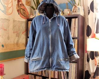 lined denim anorak coat, vintage hooded denim duffel coat, womens oversized jacket xl 1x 2x