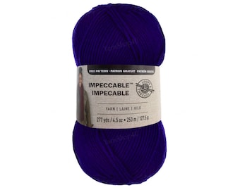 GRAPE PUNCH Purple Impeccable Yarn. Loops and Threads large 4.5oz Cheap yarn Acrylic. Big Ball For hats, afghans, sweaters, scarves. 268yd <