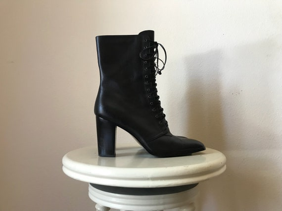 Equestrian Ankle Boots | 7.5 rounded toe lace up block heel pumps boots 90s vintage vegan minimalist zipper clean preppy
