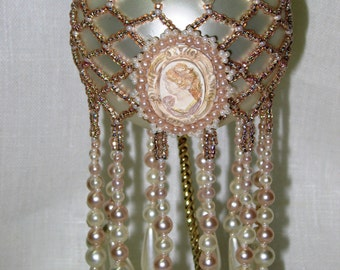 Pattern Beaded Christmas Ornament Cover - Pearl Cameo