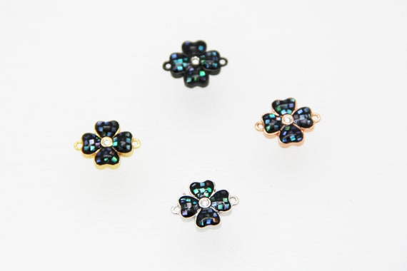 Abalone Mosaic With CZ Micro Pave 12mm Four Leaf Connectors