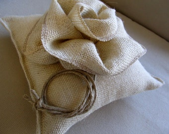 Wedding Ring Bearer Pillow in Parchment Burlap with Giant Rose