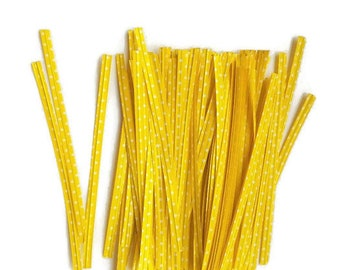 Twist ties polka dot yellow wire ties for packaging cake pops crafts metal twist tie flexible wrap sweet bags gift tags