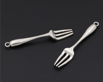 10pcs Antique Silver Tableware Forks Charms Pendant A2521