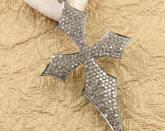 Pave Diamond Pendant, Pave Cross Pendant, Diamond Cross Charm, Pave Religious, Diamond Cross, Pave connector, Oxidized Silver. (DCH/CR291)