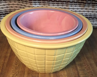 Vintage RRP & Co. Roseville, OH Pottery Nesting Beehive 4 Piece Set Made in U.S.A