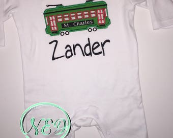 Boy's St. Charles Streetcar Applique Romper