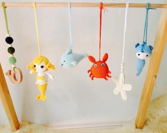 Mermaid Crochet Baby Gym Toy, Mermaid Nursery Toy, Crochet Mermaid Baby Gym centre Toy, My garden Gym toy