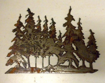 6 inch Grove of Trees Tree Forest Metal Rough Rusty Vintage-y Steel Wall Art Ornament Craft Sign Wind Chime