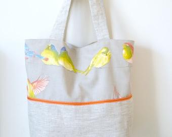 Tote bag fabric birds