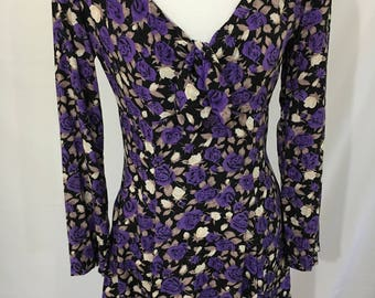 90's Rampage Purple Floral Fit & Flare Dress