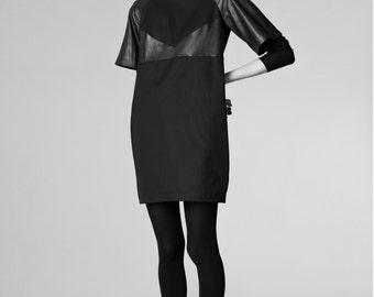 black organic cotton mini dress