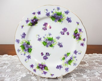 Vintage Lefton Purple Violets Floral 8 Inch Luncheon Dinner Salad Plate  - Japanese, Gifts for Her Tea Party Dining