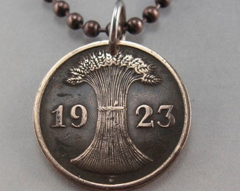 COIN JEWELRY - GERMANY necklace -antique coin jewelry German pfennig - Deutschland Charm - reich wheat sheath 1924 - mens coin No.001305