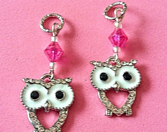 Hearing Aid Charms: Black and White Rhinestone Owls with Glass Accent Beads!  Also available as a Matching Mother Daughter Set!