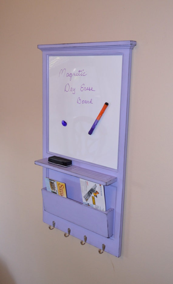 """Magnetic White Board Organizer - 22"""" x 39.25"""" - Family planner organizer - mail cubby - message center"""