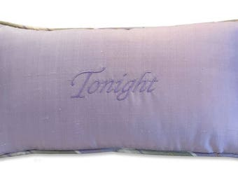tonight not tonight boudoir embroidery pillow silk lavender celery green