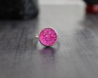 BUY 3 get 1 FREE Hot Pink Titanium AB Druzy Ring, Druzy Set, Pink Druzy Ring, Pretty in Pink, Silver base, 12mm