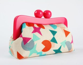 Resin frame clutch bag - Shape Up in gem - Awesome purse / Hot pink frame / Japanese fabric / Cotton and Steel / teal blue orange gray