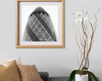 Gherkin Print.  Architectural photography, print, black and white, buildings, London, decor, wall art, artwork, large format photo.