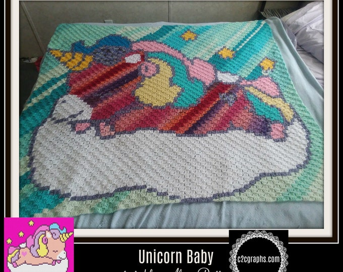 Featured listing image: Unicorn Baby Afghan Crochet Pattern, Unicorn C2C Graph, Unicorn Crochet Pattern, C2C Graph