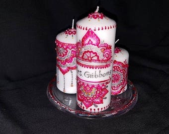 Decorative personalised henna mehndi candles, wedding, birthday, christmas, new home gifts