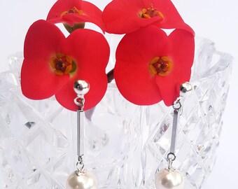 Classic Swarovski pearl drop earrings on stainless steel studs.