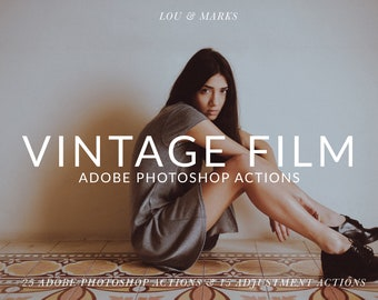 25 Vintage Film Blogger Photoshop Actions Professional Photo Editing for Products, Flat Lay, Bloggers By LouMarksPhoto