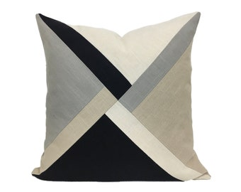 Black and Tan Linen Pillow Cover