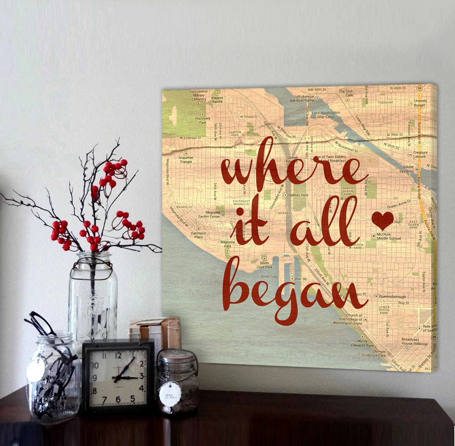 Custom map canvas Gift for Husband Boyfriend Top Gift Ideas