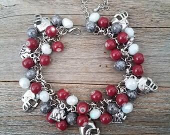 Football jewelry, sport jewelry, football charm bracelet, Alabama, roll tide, crimson tide, college Football, Alabama jewelry, red jewelry