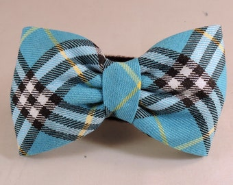 Dog Flower, Dog Bow Tie, Cat Flower, Cat Bow Tie - Turquoise, Blue, Black and Yellow Plaid