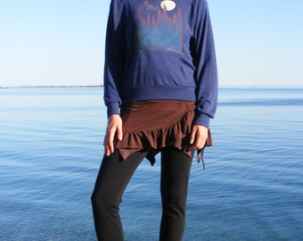 Blue Pullover with Owl and Moon Unique Art Casual Clothing for Women Wide Neck Relaxed Fit American Apparel Tri Blend Sm Med Lg