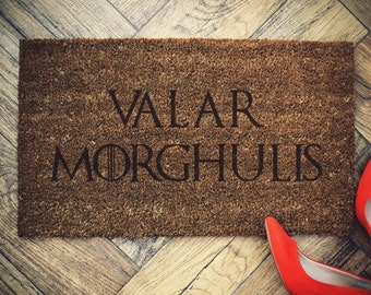 "Game of Thrones doormat coconut "" Valar MORGHULIS "" door mat"