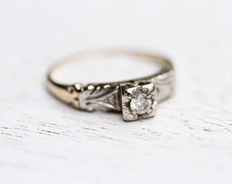 Diamond Ring Gold, Diamond Ring, Gold Shoulder Ring, Gold Ring, Yellow Gold Diamond Ring, 14K Diamond Ring, Deco Diamond Ring, Size 5.75