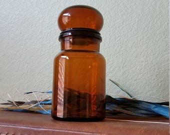 Vintage Brown Glass Jar with Bubble Top