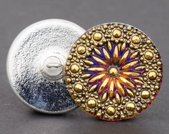 Czech Glass Button - Round North Star Button - North Star Purple Blue Iridescent with Gold Paint