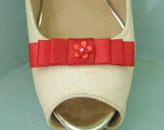 Handmade Small Red Bow Shoe Clips with Little Flower Centre