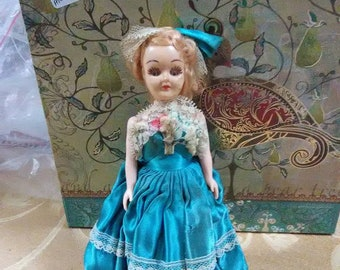 Vintage Madam Alexander doll. Blonde hair and blue eyes. Blue dress.