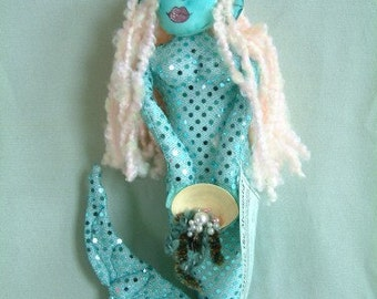 Minette the Mermaid, Wall Hanger Art Doll no.16