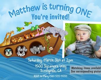DIGITAL noah's ark invite, noah's ark invitation, noah's ark birthday invite, noah's ark birthday invitation, noah's ark party