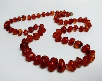 Vintage genuine amber necklace tested