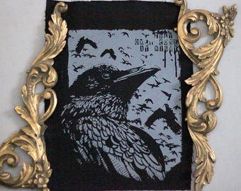 handprinted backpatch raven crow occult grey color