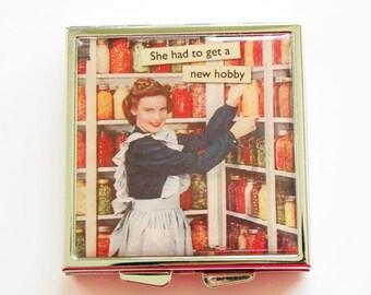 Funny pill box, Funny pill case, New Hobby, Pill Case, Pill Box, 4 Sections, Square Pill box, Square Pill case, canning, retro (4050)