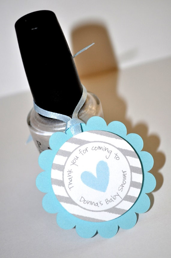 Boys Baby Shower Favor Tags Blue And Gray Thank You Tags